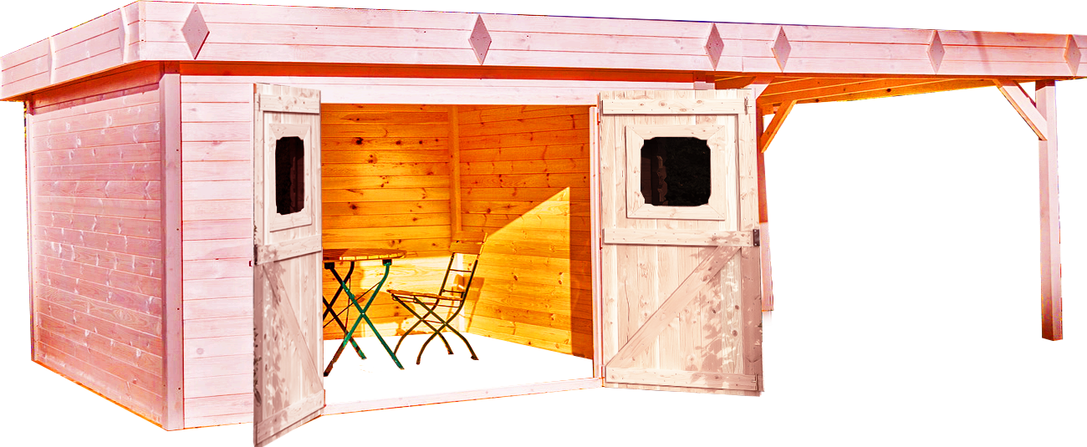 Abri De Jardin Dinan Avec Terrasse Couverte Douglas Toit Plat Avec Bac Acier 3 7 X 6 76 M